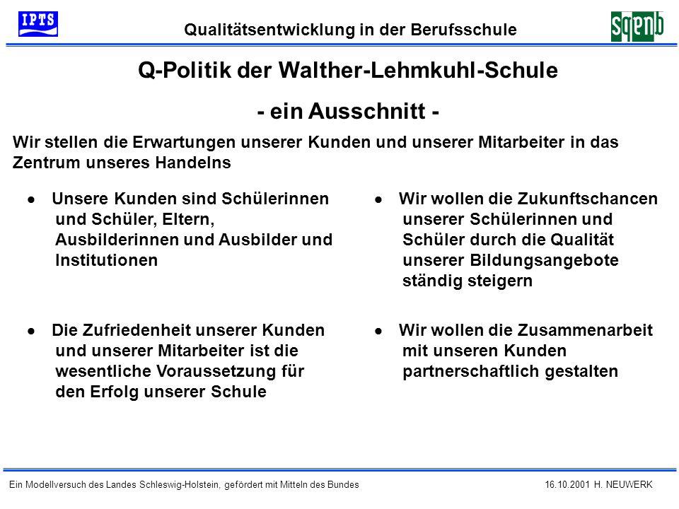16.10.2001 H. NEUWERK Qualitätsentwicklung in der Berufsschule Ein Modellversuch des Landes Schleswig-Holstein, gefördert mit Mitteln des Bundes Q-Pol