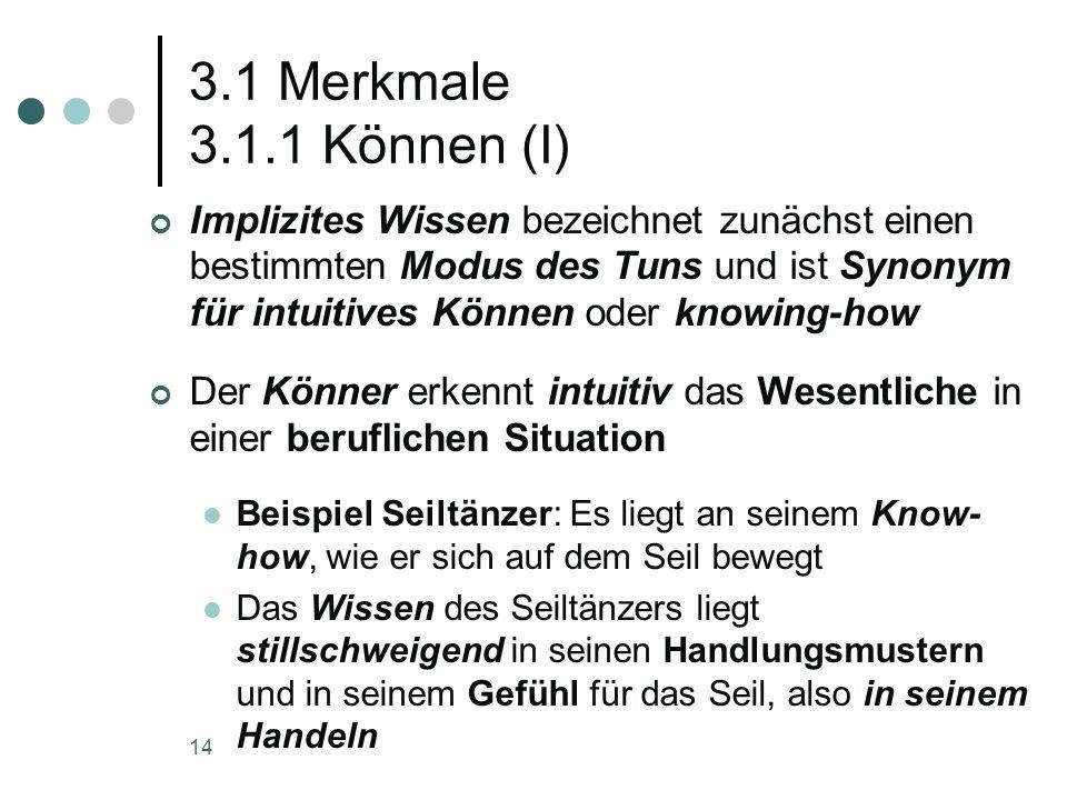 14 3.1 Merkmale 3.1.1 Können (I) Implizites Wissen bezeichnet zunächst einen bestimmten Modus des Tuns und ist Synonym für intuitives Können oder know