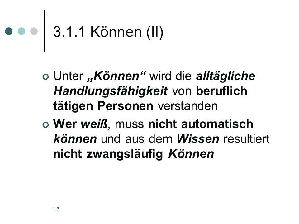 15 3.1.1 Können (II) Unter Können wird die alltägliche Handlungsfähigkeit von beruflich tätigen Personen verstanden Wer weiß, muss nicht automatisch k