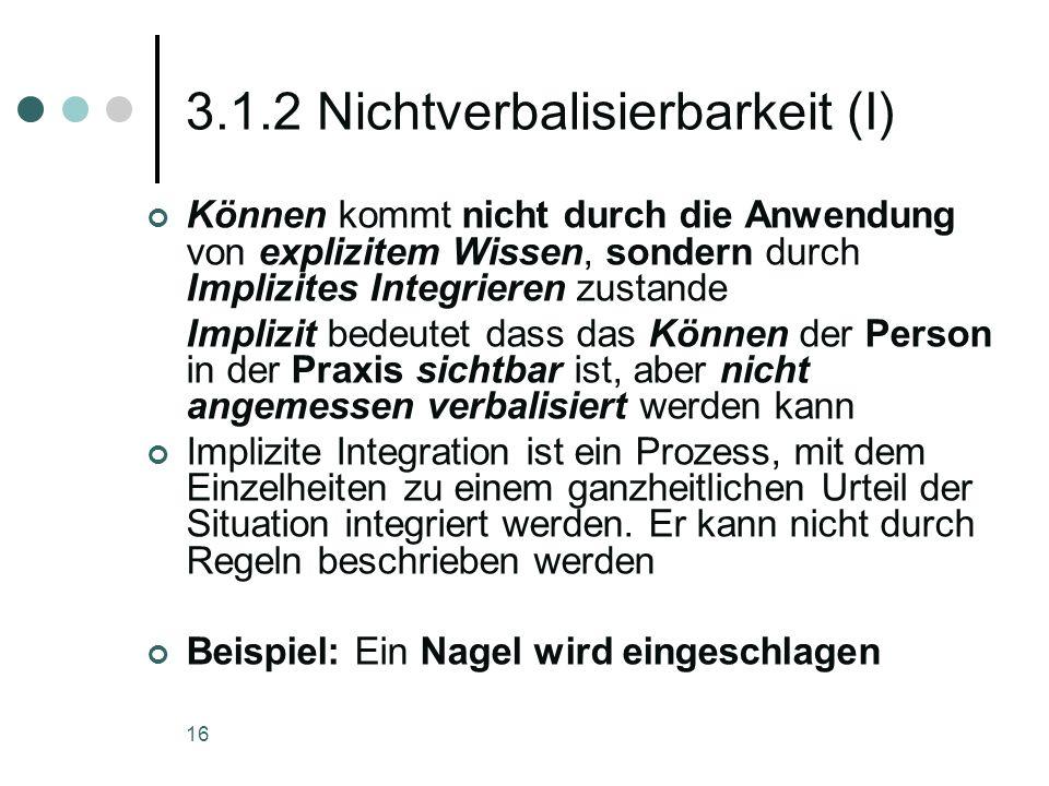 16 3.1.2 Nichtverbalisierbarkeit (I) Können kommt nicht durch die Anwendung von explizitem Wissen, sondern durch Implizites Integrieren zustande Impli