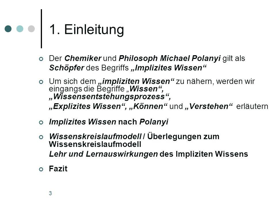 3 1. Einleitung Der Chemiker und Philosoph Michael Polanyi gilt als Schöpfer des Begriffs Implizites Wissen Um sich dem impliziten Wissen zu nähern, w