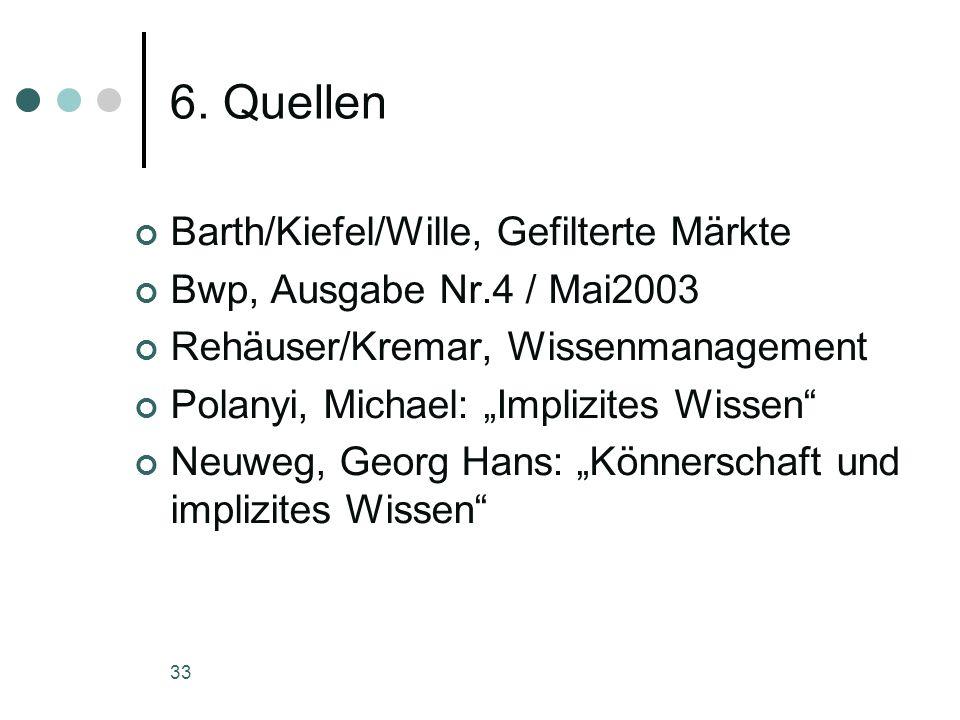 33 6. Quellen Barth/Kiefel/Wille, Gefilterte Märkte Bwp, Ausgabe Nr.4 / Mai2003 Rehäuser/Kremar, Wissenmanagement Polanyi, Michael: Implizites Wissen