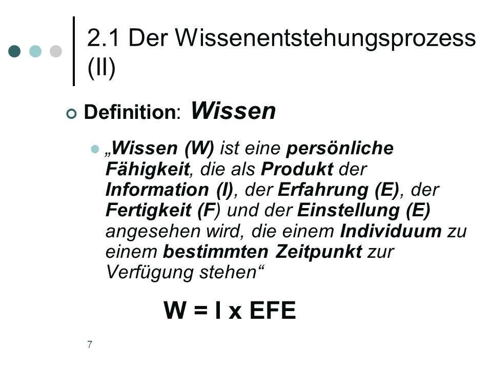 7 2.1 Der Wissenentstehungsprozess (II) Definition: Wissen Wissen (W) ist eine persönliche Fähigkeit, die als Produkt der Information (I), der Erfahru