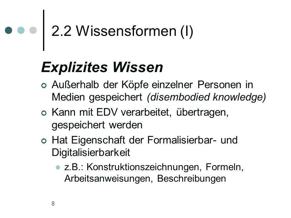 8 2.2 Wissensformen (I) Explizites Wissen Außerhalb der Köpfe einzelner Personen in Medien gespeichert (disembodied knowledge) Kann mit EDV verarbeite
