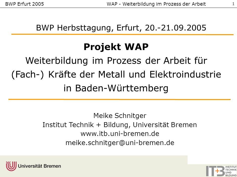 BWP Erfurt 2005 WAP - Weiterbildung im Prozess der Arbeit 1 Projekt WAP Weiterbildung im Prozess der Arbeit für (Fach-) Kräfte der Metall und Elektroindustrie in Baden-Württemberg Meike Schnitger Institut Technik + Bildung, Universität Bremen www.itb.uni-bremen.de meike.schnitger@uni-bremen.de BWP Herbsttagung, Erfurt, 20.-21.09.2005