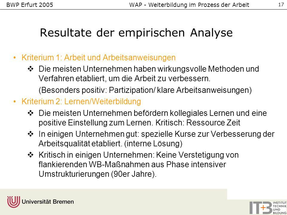BWP Erfurt 2005 WAP - Weiterbildung im Prozess der Arbeit 17 Resultate der empirischen Analyse Kriterium 1: Arbeit und Arbeitsanweisungen Die meisten
