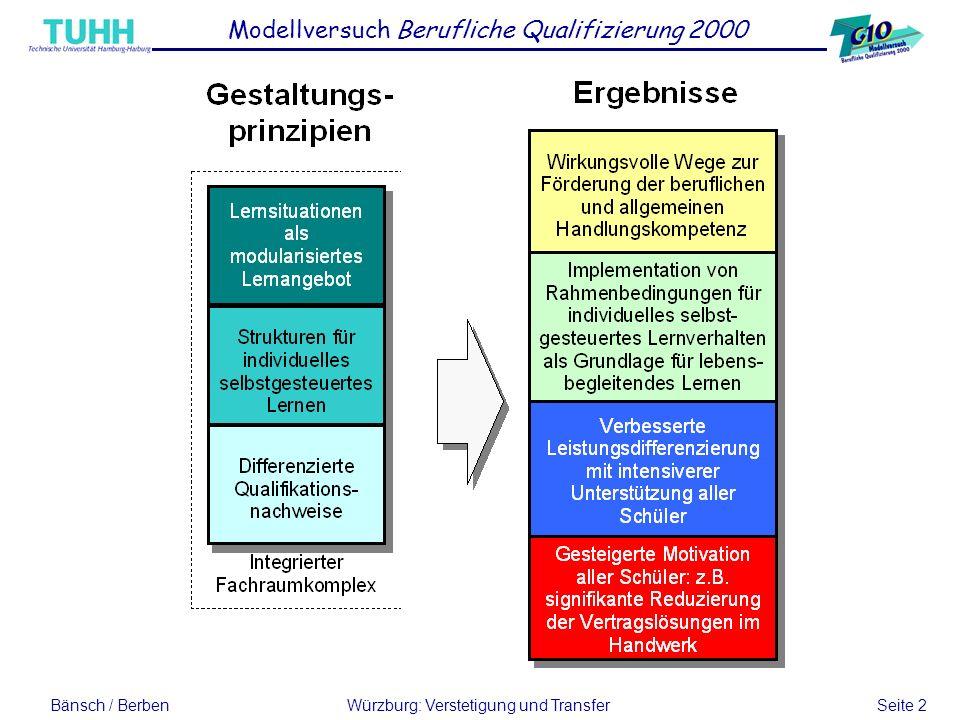 Bänsch / BerbenWürzburg: Verstetigung und Transfer Seite 2 Modellversuch Berufliche Qualifizierung 2000