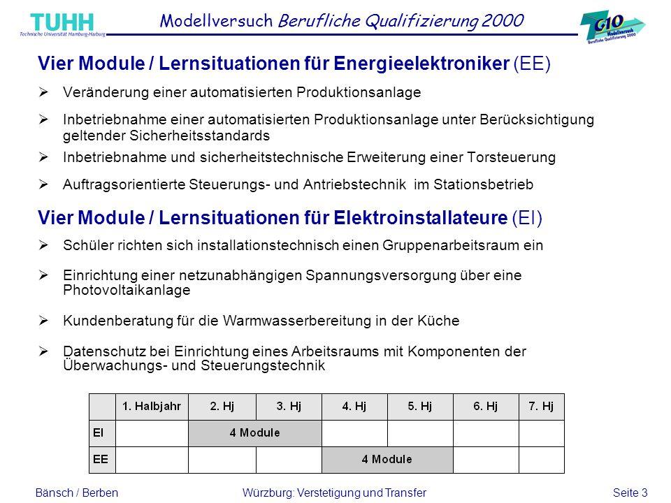 Bänsch / BerbenWürzburg: Verstetigung und Transfer Seite 3 Vier Module / Lernsituationen für Energieelektroniker (EE) Veränderung einer automatisierte
