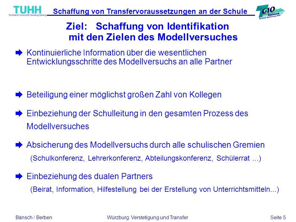Bänsch / BerbenWürzburg: Verstetigung und Transfer Seite 5 Schaffung von Transfervoraussetzungen an der Schule èBeteiligung einer möglichst großen Zah