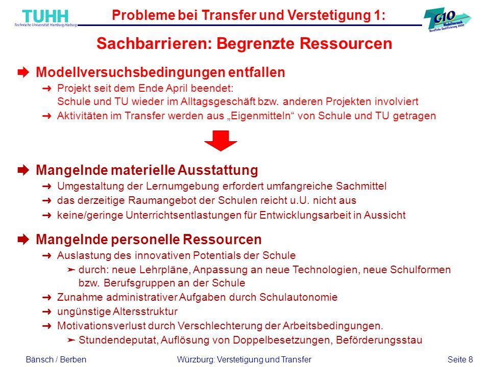 Bänsch / BerbenWürzburg: Verstetigung und Transfer Seite 8 Probleme bei Transfer und Verstetigung 1: Sachbarrieren: Begrenzte Ressourcen èModellversuc