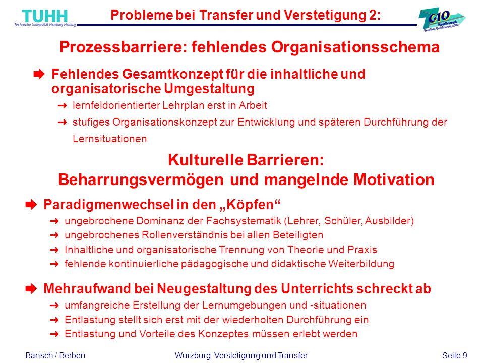 Bänsch / BerbenWürzburg: Verstetigung und Transfer Seite 9 èParadigmenwechsel in den Köpfen Üungebrochene Dominanz der Fachsystematik (Lehrer, Schüler