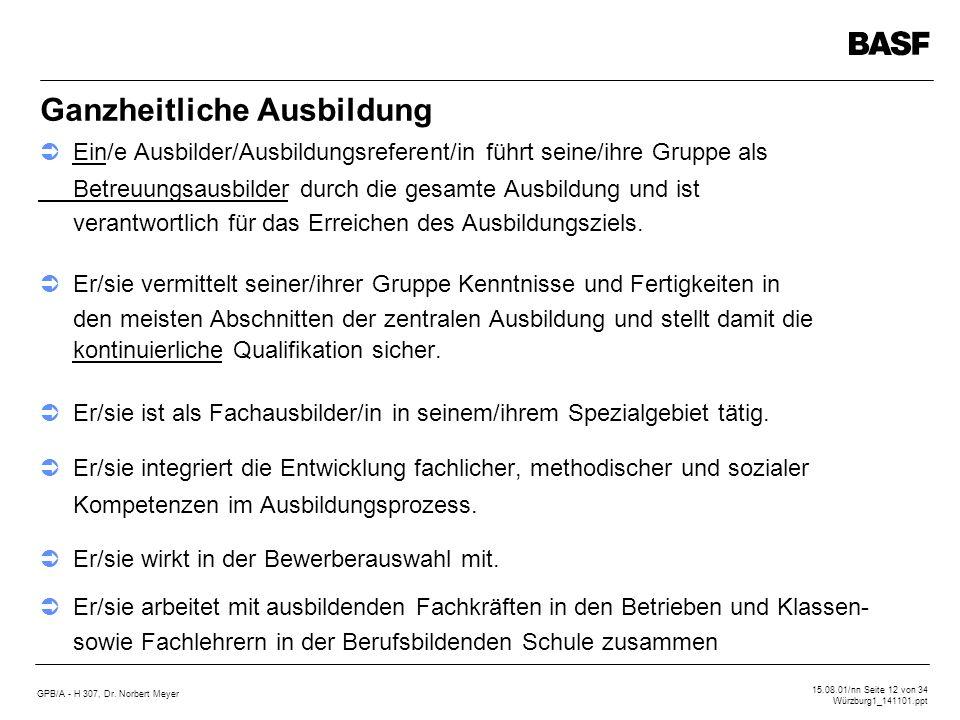GPB/A - H 307, Dr. Norbert Meyer 15.08.01/nn Seite 12 von 34 Würzburg1_141101.ppt Ganzheitliche Ausbildung Ein/e Ausbilder/Ausbildungsreferent/in führ