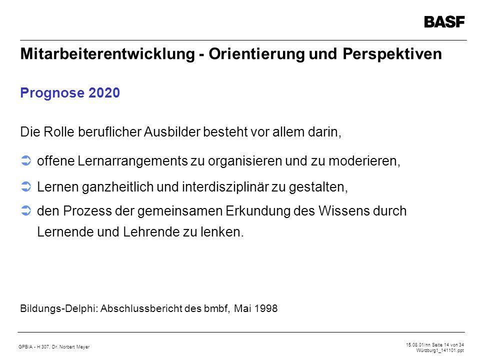 GPB/A - H 307, Dr. Norbert Meyer 15.08.01/nn Seite 14 von 34 Würzburg1_141101.ppt Mitarbeiterentwicklung - Orientierung und Perspektiven Prognose 2020