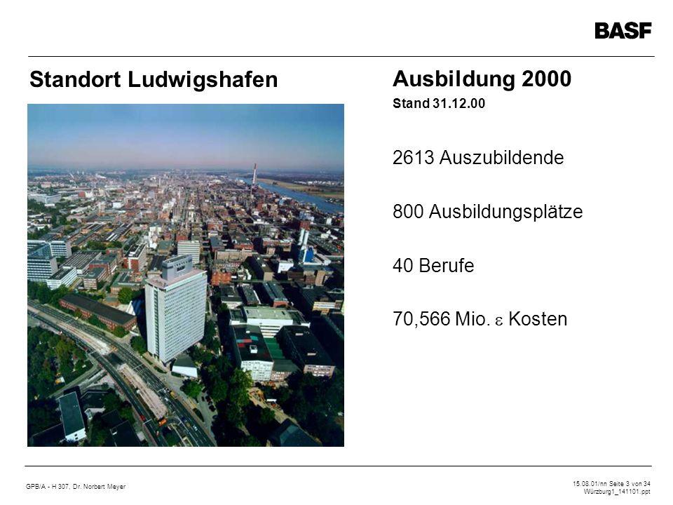 GPB/A - H 307, Dr. Norbert Meyer 15.08.01/nn Seite 3 von 34 Würzburg1_141101.ppt Ausbildung 2000 Stand 31.12.00 2613 Auszubildende 800 Ausbildungsplät