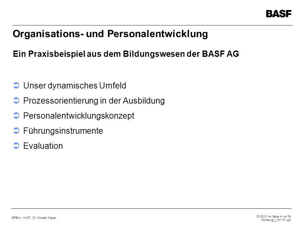 GPB/A - H 307, Dr. Norbert Meyer 15.08.01/nn Seite 4 von 34 Würzburg1_141101.ppt Organisations- und Personalentwicklung Unser dynamisches Umfeld Proze