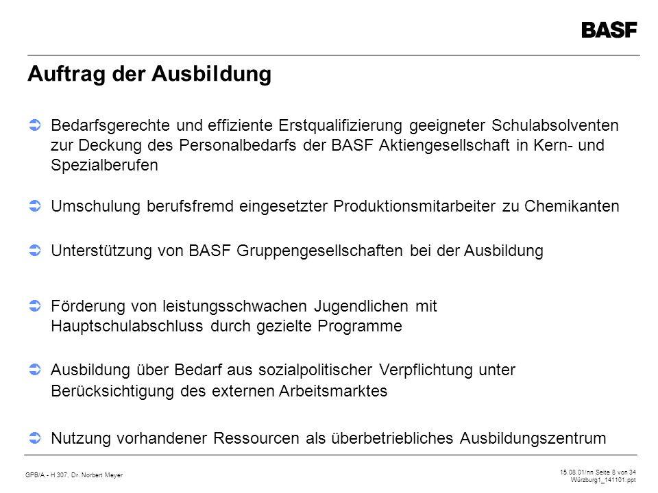 GPB/A - H 307, Dr. Norbert Meyer 15.08.01/nn Seite 8 von 34 Würzburg1_141101.ppt Auftrag der Ausbildung Bedarfsgerechte und effiziente Erstqualifizier