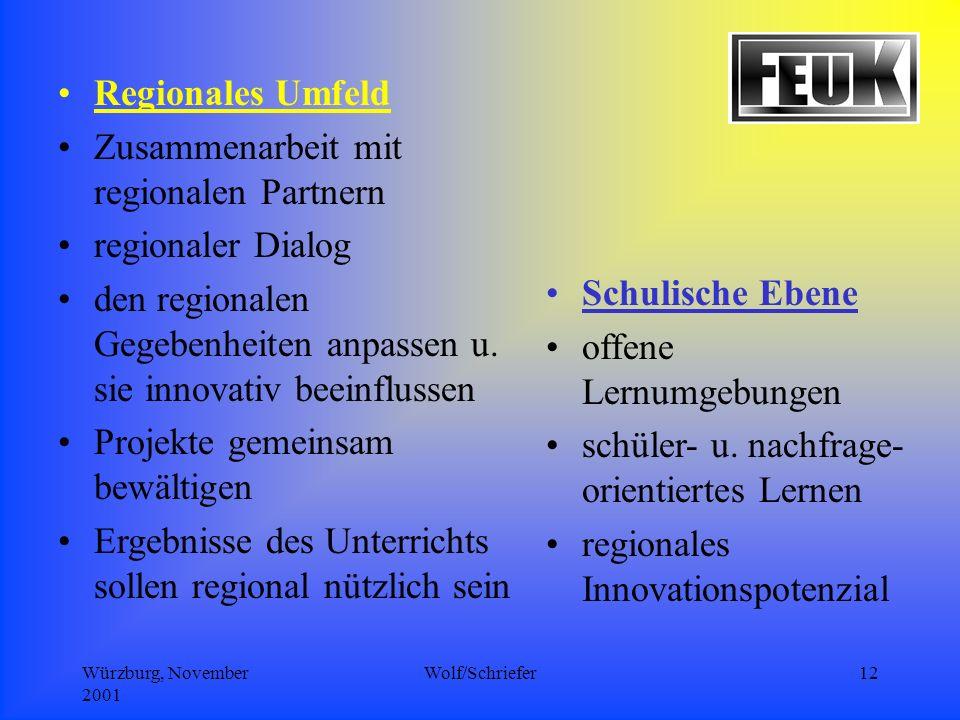Würzburg, November 2001 Wolf/Schriefer12 Schulische Ebene offene Lernumgebungen schüler- u.
