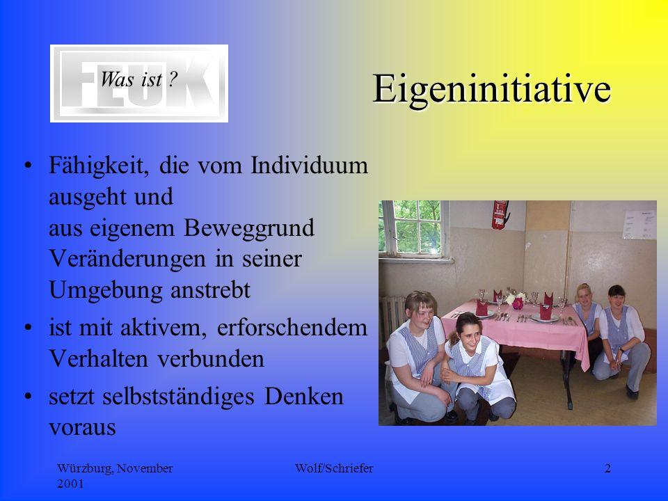 Würzburg, November 2001 Wolf/Schriefer2 Eigeninitiative Fähigkeit, die vom Individuum ausgeht und aus eigenem Beweggrund Veränderungen in seiner Umgebung anstrebt ist mit aktivem, erforschendem Verhalten verbunden setzt selbstständiges Denken voraus Was ist