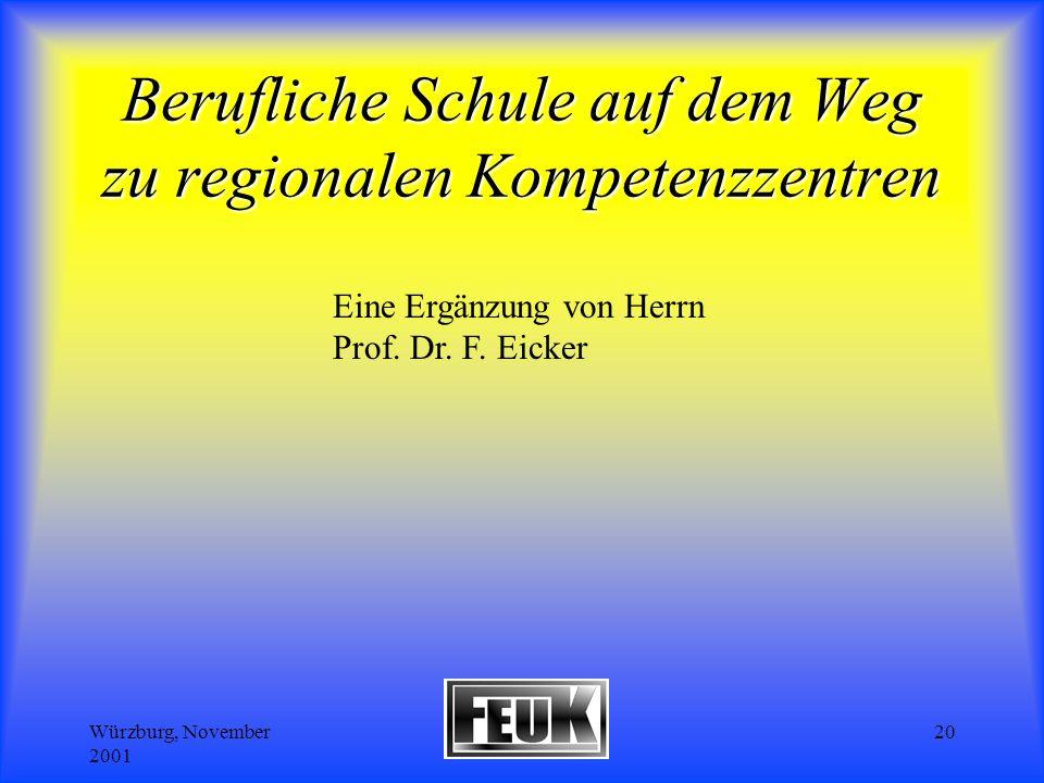 Würzburg, November 2001 Wolf/Schriefer20 Berufliche Schule auf dem Weg zu regionalen Kompetenzzentren Eine Ergänzung von Herrn Prof.