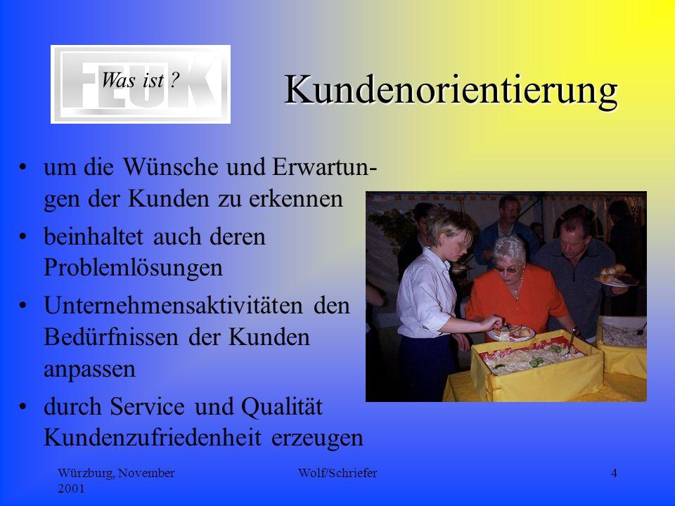 Würzburg, November 2001 Wolf/Schriefer4 Kundenorientierung um die Wünsche und Erwartun- gen der Kunden zu erkennen beinhaltet auch deren Problemlösungen Unternehmensaktivitäten den Bedürfnissen der Kunden anpassen durch Service und Qualität Kundenzufriedenheit erzeugen Was ist