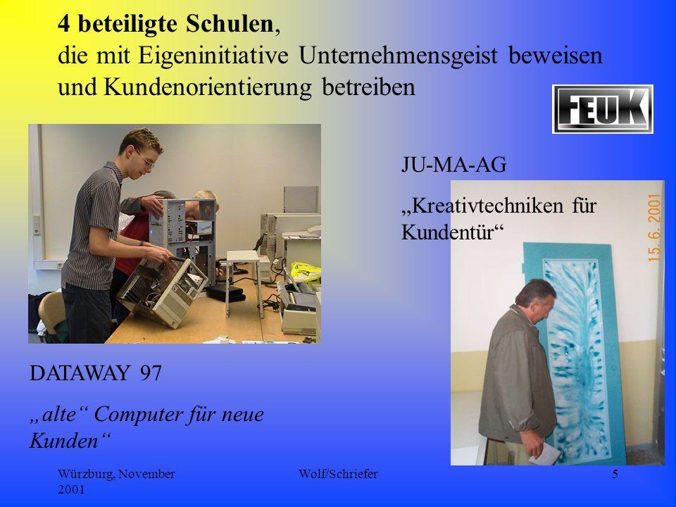 Würzburg, November 2001 Wolf/Schriefer5 4 beteiligte Schulen, die mit Eigeninitiative Unternehmensgeist beweisen und Kundenorientierung betreiben DATAWAY 97 alte Computer für neue Kunden JU-MA-AG Kreativtechniken für Kundentür