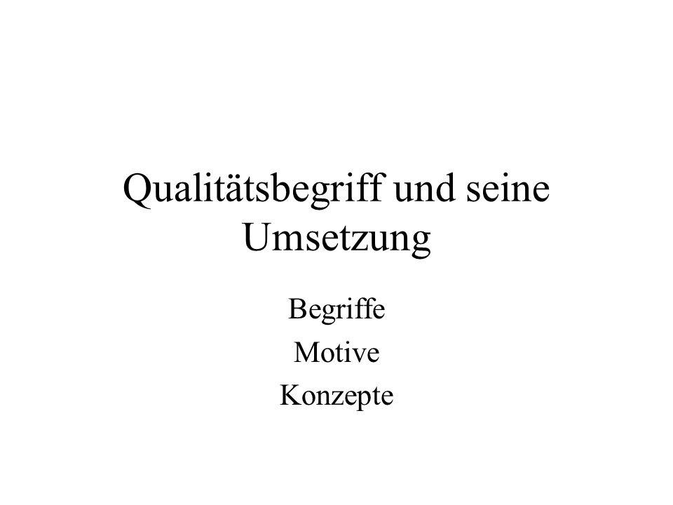 Qualitätsbegriff und seine Umsetzung Begriffe Motive Konzepte