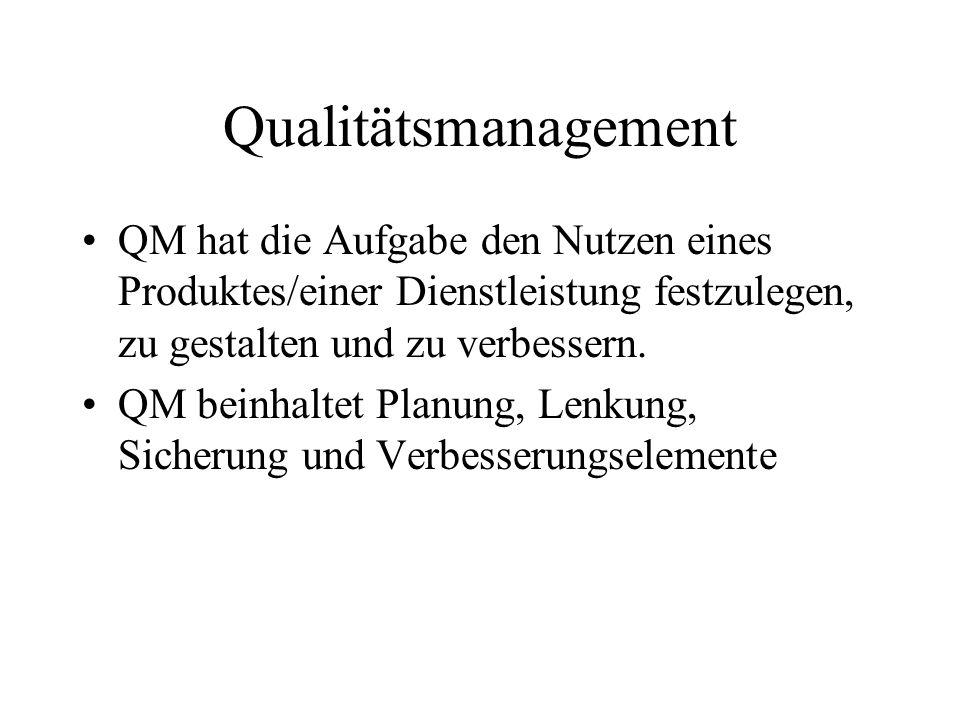 Qualitätsmanagement QM hat die Aufgabe den Nutzen eines Produktes/einer Dienstleistung festzulegen, zu gestalten und zu verbessern.
