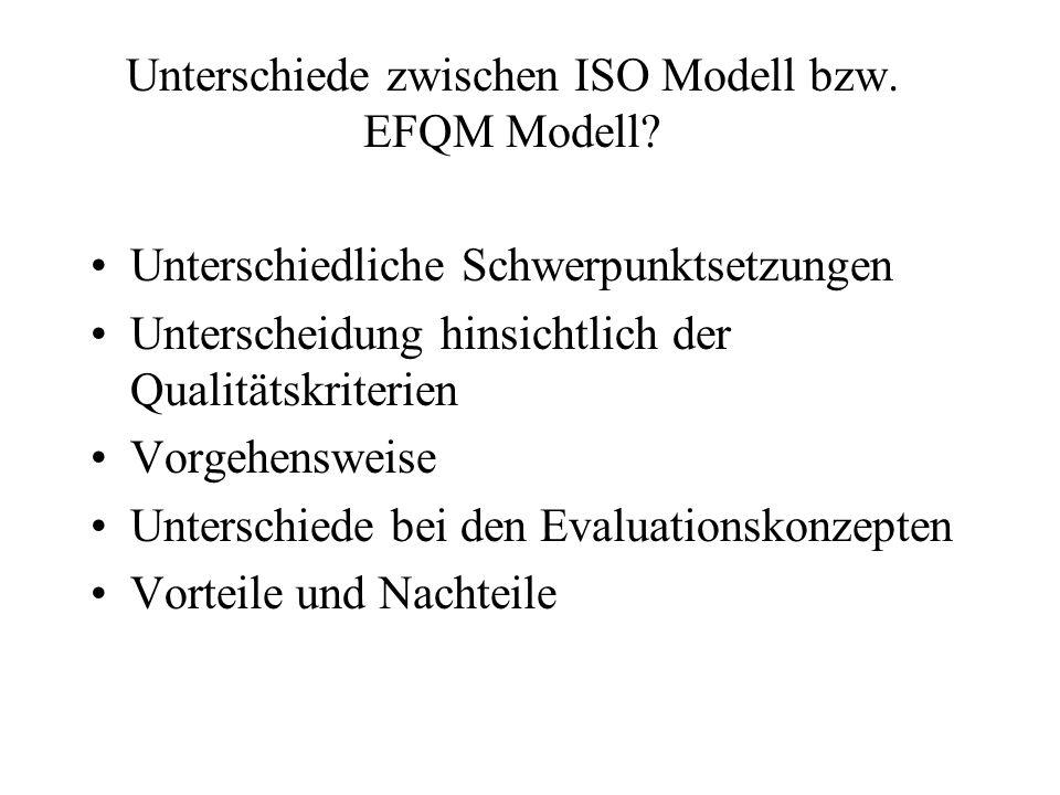 Unterschiede zwischen ISO Modell bzw.EFQM Modell.