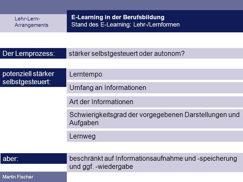 E-Learning in der Berufsbildung Stand des E-Learning: Lehr-/Lernformen Lehr-Lern- Arrangements Martin Fischer stärker selbstgesteuert oder autonom?Der