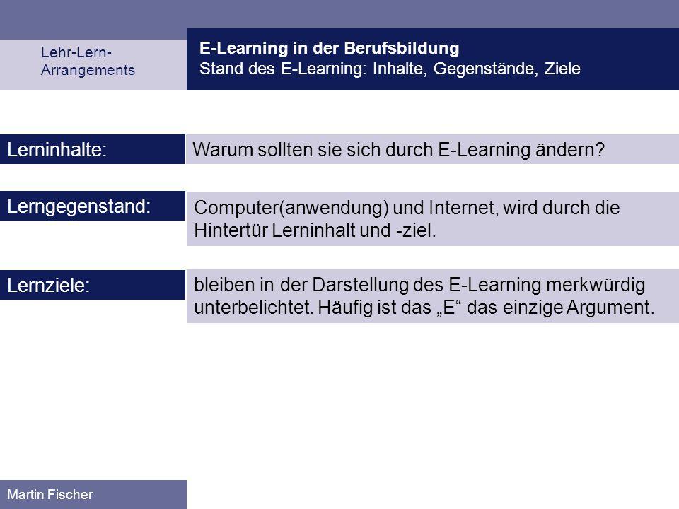 E-Learning in der Berufsbildung Stand des E-Learning: Inhalte, Gegenstände, Ziele Lehr-Lern- Arrangements Martin Fischer Warum sollten sie sich durch