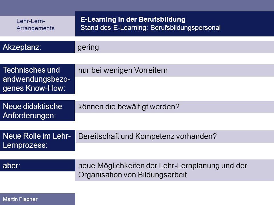 E-Learning in der Berufsbildung Stand des E-Learning: Berufsbildungspersonal Lehr-Lern- Arrangements Martin Fischer geringAkzeptanz: nur bei wenigen V