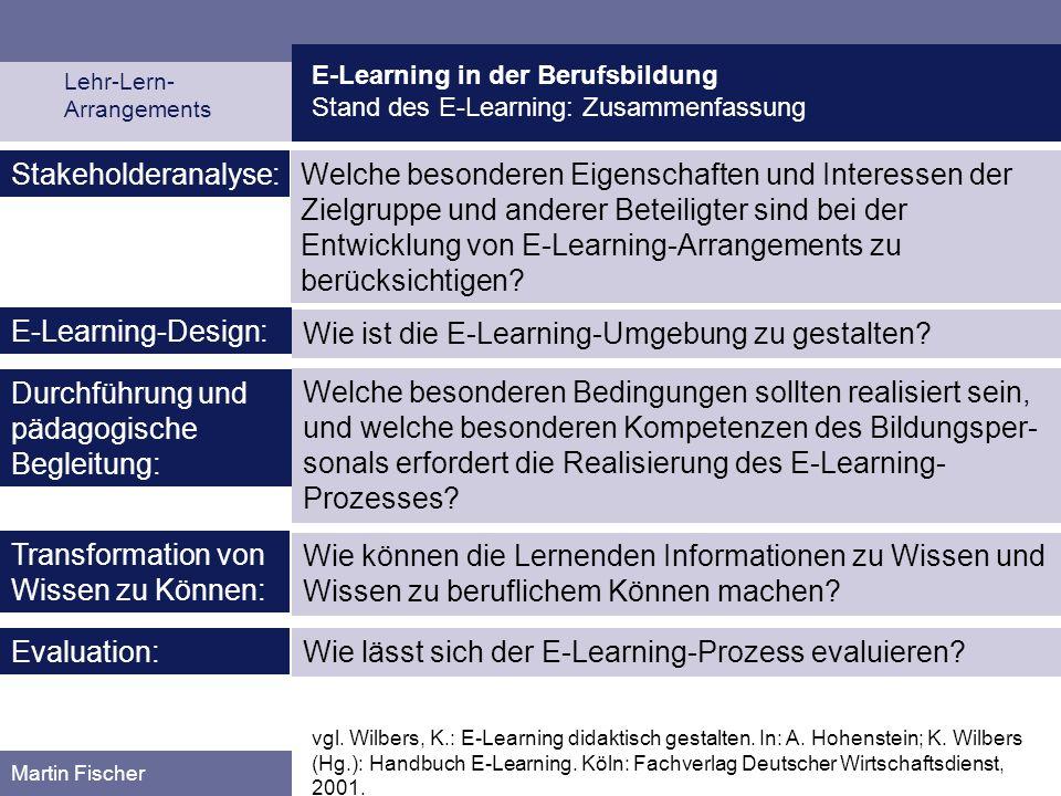E-Learning in der Berufsbildung Stand des E-Learning: Zusammenfassung Lehr-Lern- Arrangements Martin Fischer Welche besonderen Eigenschaften und Inter