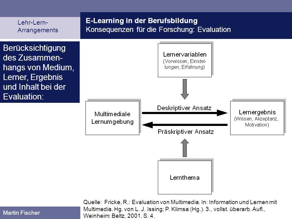 E-Learning in der Berufsbildung Konsequenzen für die Forschung: Evaluation Lehr-Lern- Arrangements Martin Fischer Quelle: Fricke, R.: Evaluation von M