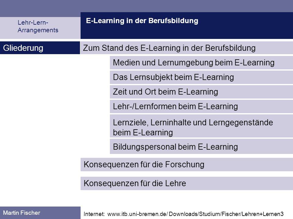 E-Learning in der Berufsbildung Lehr-Lern- Arrangements Martin Fischer Medien und Lernumgebung beim E-Learning Zum Stand des E-Learning in der Berufsb