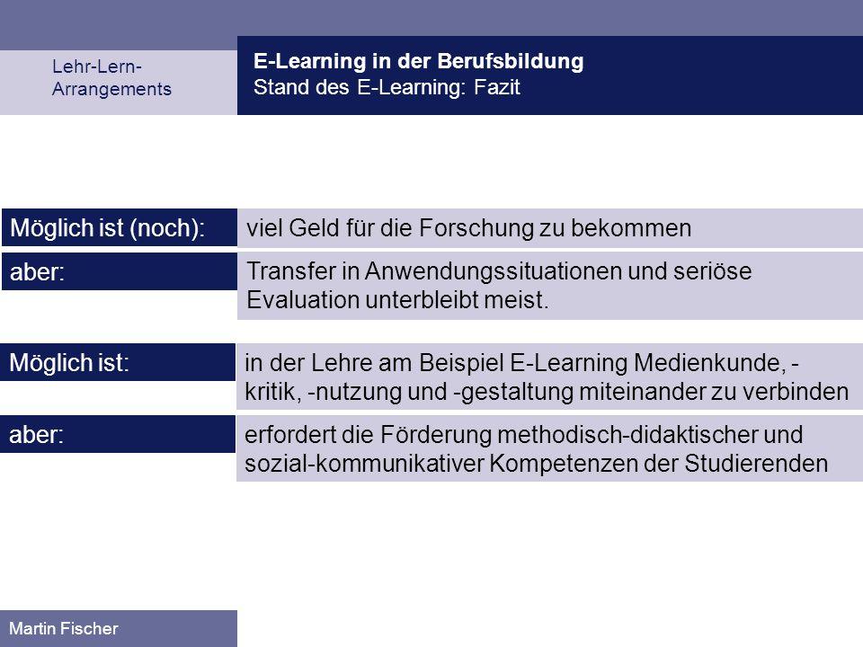 E-Learning in der Berufsbildung Stand des E-Learning: Fazit Lehr-Lern- Arrangements Martin Fischer in der Lehre am Beispiel E-Learning Medienkunde, -