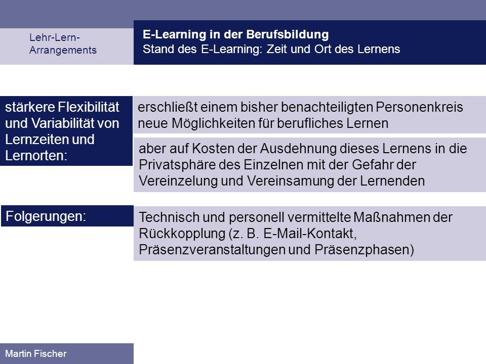 E-Learning in der Berufsbildung Stand des E-Learning: Zeit und Ort des Lernens Lehr-Lern- Arrangements Martin Fischer erschließt einem bisher benachte