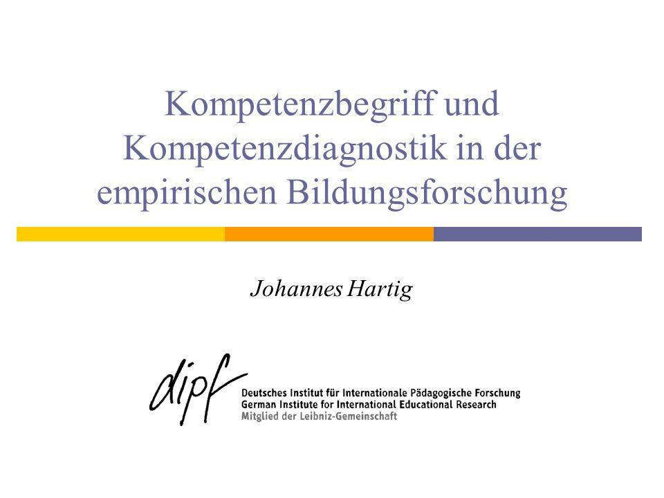 Hintergrund DFG-Schwerpunktprogramm Kompetenzmodelle zur Erfassung individueller Lernergebnisse und zur Bilanzierung von Bildungsprozessen (Eckhard Klieme & Detlev Leutner) Förderbeginn voraussichtlich Juli 2007 www.kompetenzdiagnostik.de