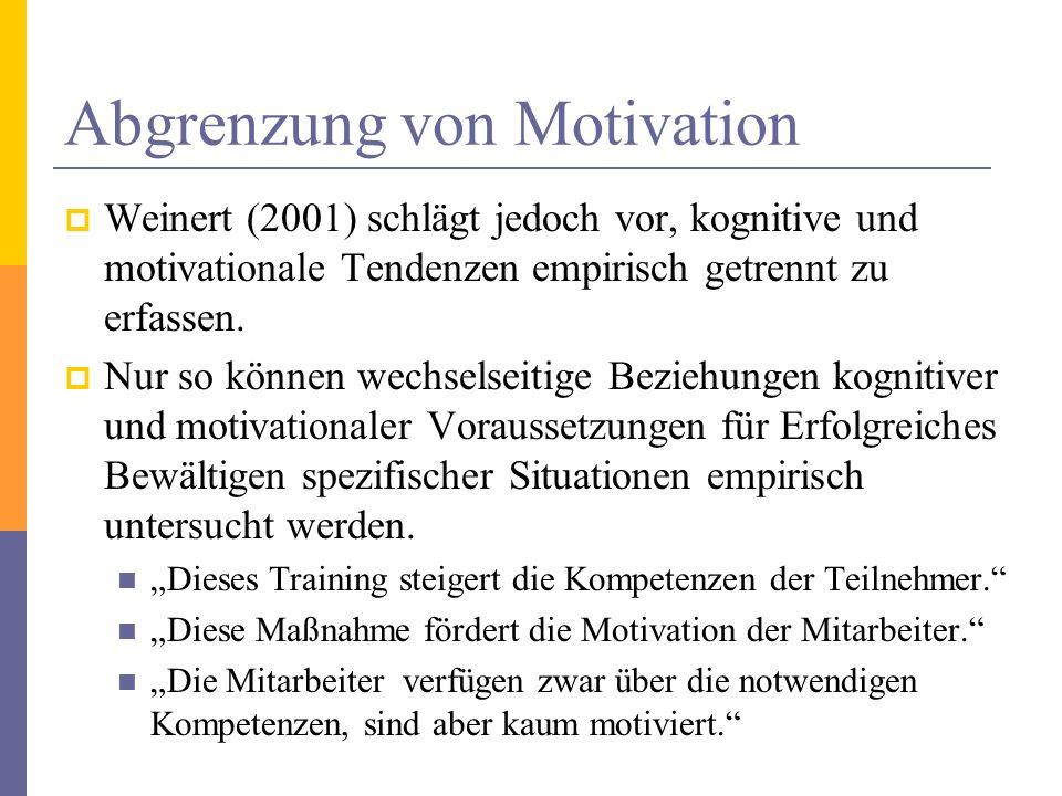 Abgrenzung von Motivation Weinert (2001) schlägt jedoch vor, kognitive und motivationale Tendenzen empirisch getrennt zu erfassen. Nur so können wechs