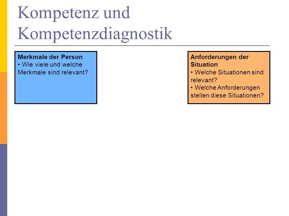 Kompetenz und Kompetenzdiagnostik Merkmale der Person Wie viele und welche Merkmale sind relevant? Anforderungen der Situation Welche Situationen sind
