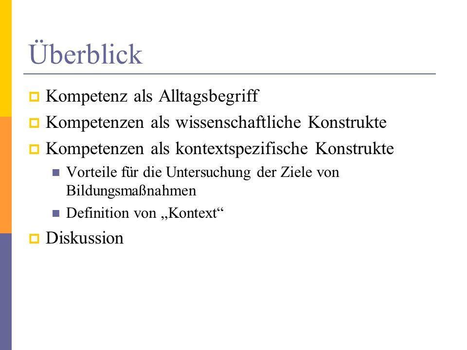 Kompetenz als alltäglicher Begriff Kompetenz gehört zu den 5000 am häufigsten verwendeten deutschen Wörtern (Projekt Deutscher Wortschatz, 2006) Der Begriff bezeichnet auch Zuständigkeit im juristischen oder organisatorischen Sinne.