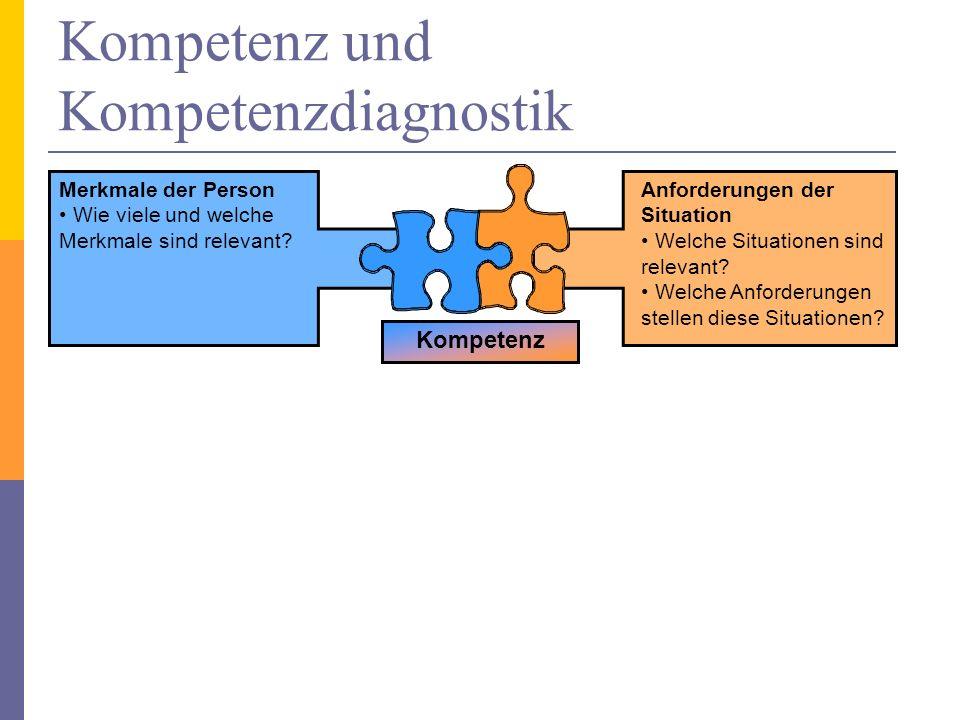 Kompetenz und Kompetenzdiagnostik Kompetenz Merkmale der Person Wie viele und welche Merkmale sind relevant? Anforderungen der Situation Welche Situat
