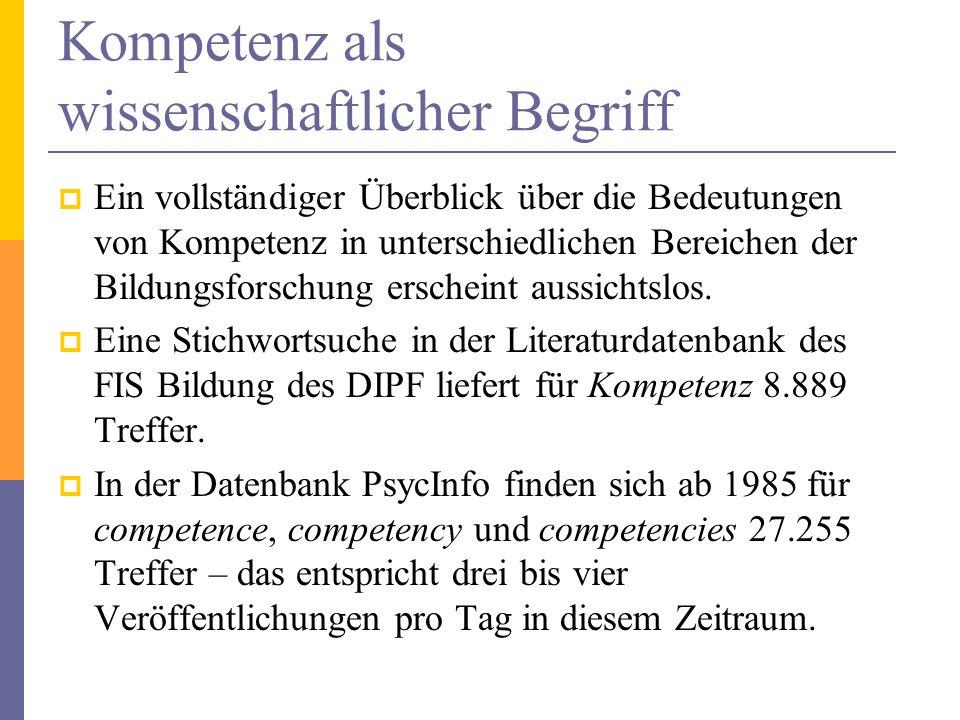 Kompetenz als wissenschaftlicher Begriff Ein vollständiger Überblick über die Bedeutungen von Kompetenz in unterschiedlichen Bereichen der Bildungsfor