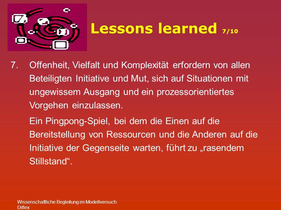Lessons learned 7/10 Wissenschaftliche Begleitung im Modellversuch Diflex 7.Offenheit, Vielfalt und Komplexität erfordern von allen Beteiligten Initiative und Mut, sich auf Situationen mit ungewissem Ausgang und ein prozessorientiertes Vorgehen einzulassen.