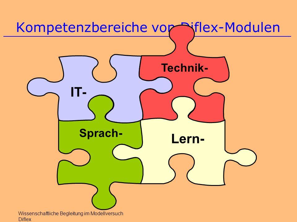 Kompetenzbereiche von Diflex-Modulen Wissenschaftliche Begleitung im Modellversuch Diflex IT- Technik- Sprach- Lern-