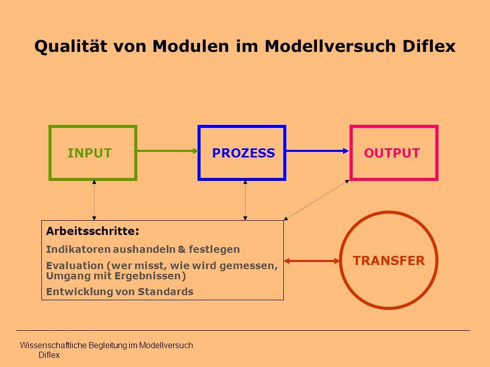 Qualität von Modulen im Modellversuch Diflex OUTPUT PROZESSINPUT Arbeitsschritte : Indikatoren aushandeln & festlegen Evaluation (wer misst, wie wird gemessen, Umgang mit Ergebnissen) Entwicklung von Standards TRANSFER Wissenschaftliche Begleitung im Modellversuch Diflex