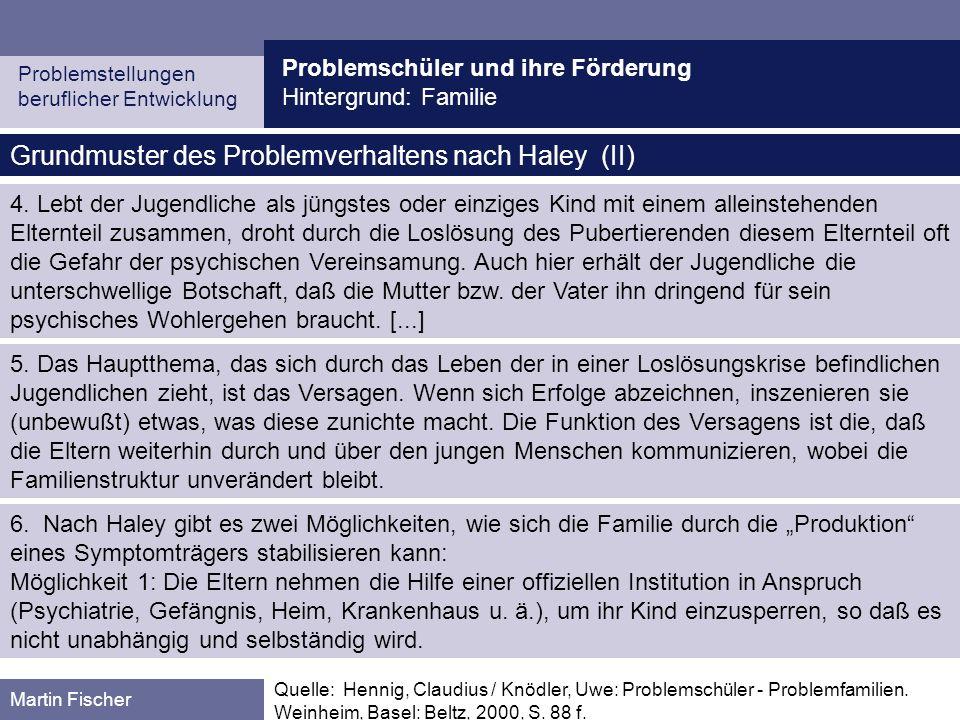 Problemschüler und ihre Förderung Hintergrund: Familie Problemstellungen beruflicher Entwicklung Martin Fischer Grundmuster des Problemverhaltens nach Haley (II) 4.