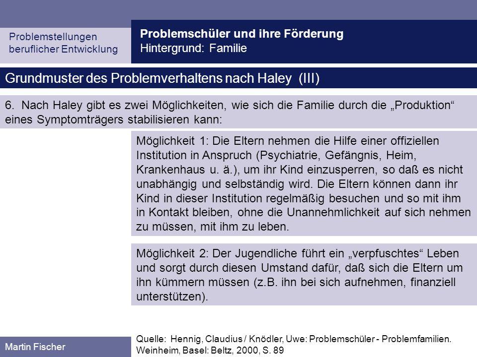 Problemschüler und ihre Förderung Hintergrund: Familie Problemstellungen beruflicher Entwicklung Martin Fischer Grundmuster des Problemverhaltens nach Haley (III) Quelle: Hennig, Claudius / Knödler, Uwe: Problemschüler - Problemfamilien.