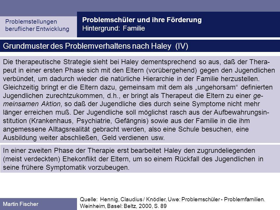 Problemschüler und ihre Förderung Hintergrund: Familie Problemstellungen beruflicher Entwicklung Martin Fischer Grundmuster des Problemverhaltens nach Haley (IV) Quelle: Hennig, Claudius / Knödler, Uwe: Problemschüler - Problemfamilien.