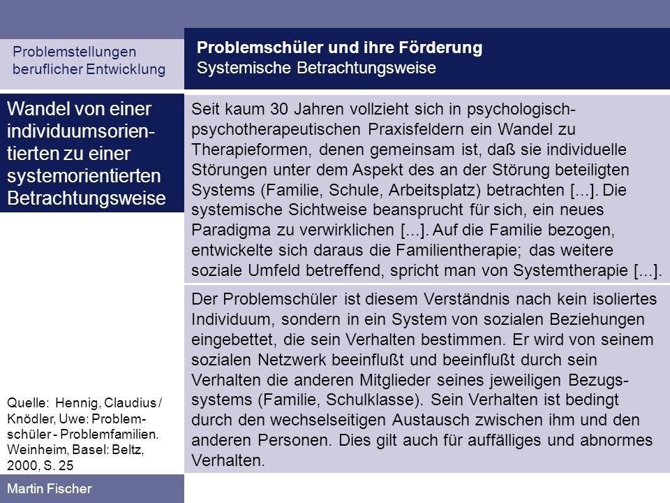 Problemschüler und ihre Förderung Methoden systemischer Beratung Problemstellungen beruflicher Entwicklung Martin Fischer Lösungsorientierte Fragen bei der Beratung von Problemschülern (XVI) Konstruktive W-Fragen in der Beratung fangen meist mit einem W der Frageworte Was, Wie, Welche, Woran etc.