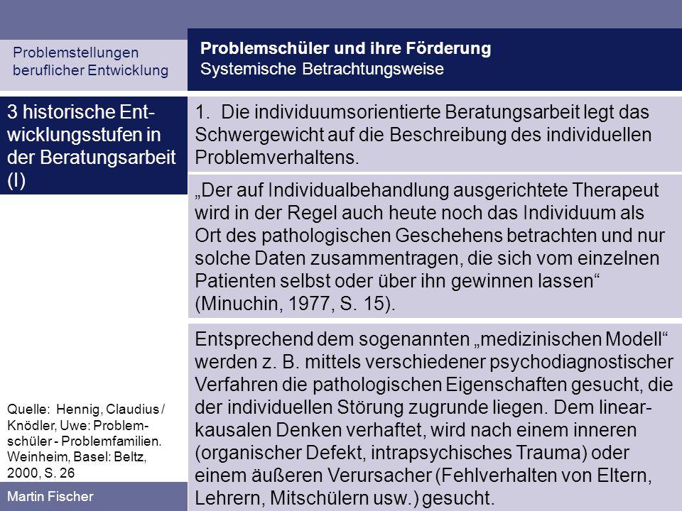 Problemschüler und ihre Förderung Systemische Betrachtungsweise Problemstellungen beruflicher Entwicklung Martin Fischer 3 historische Ent- wicklungsstufen in der Beratungsarbeit (II) 2.